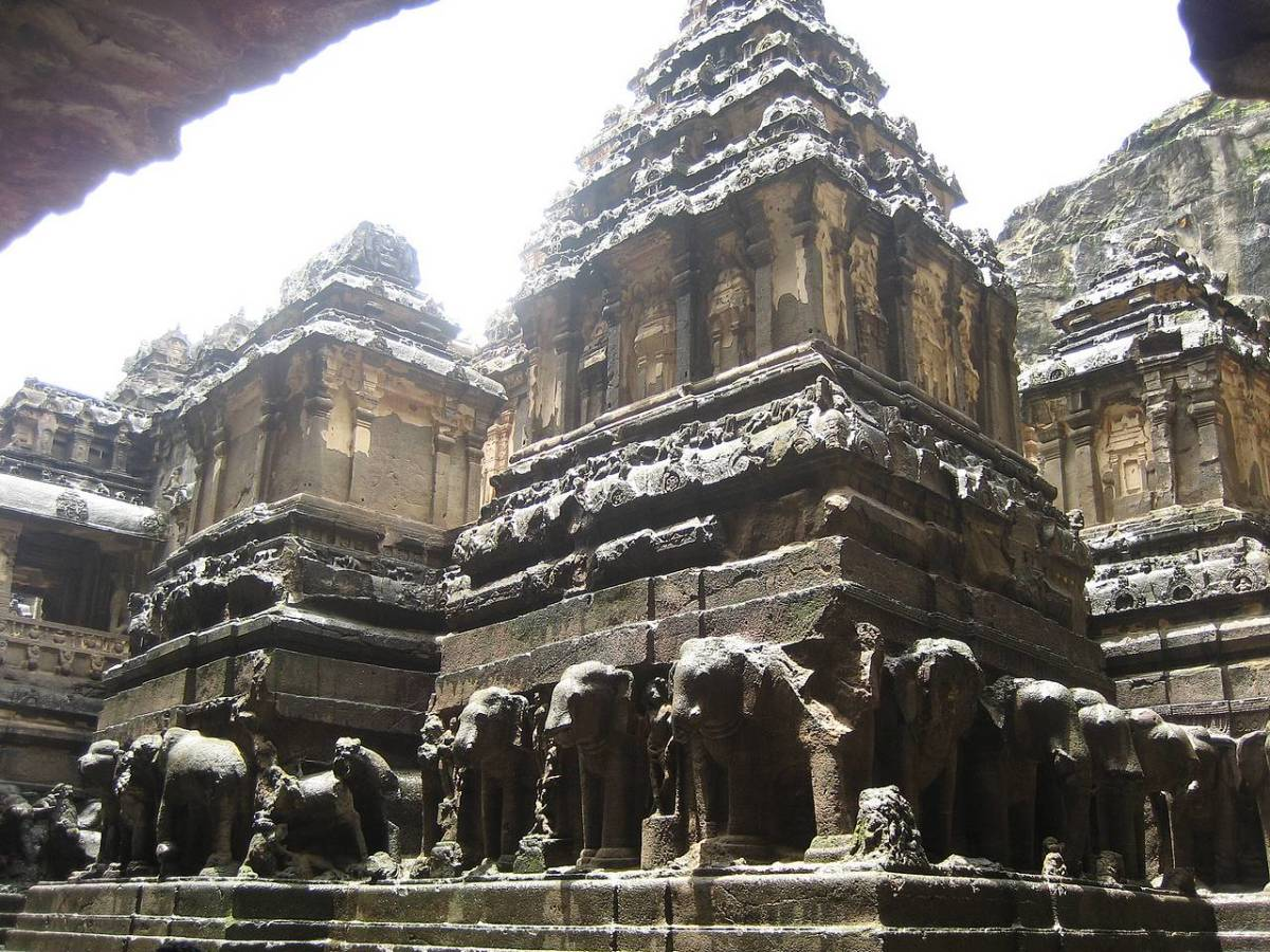 The Kailasa temple was constructed to resemble Mount Kailash of the Himalayas!