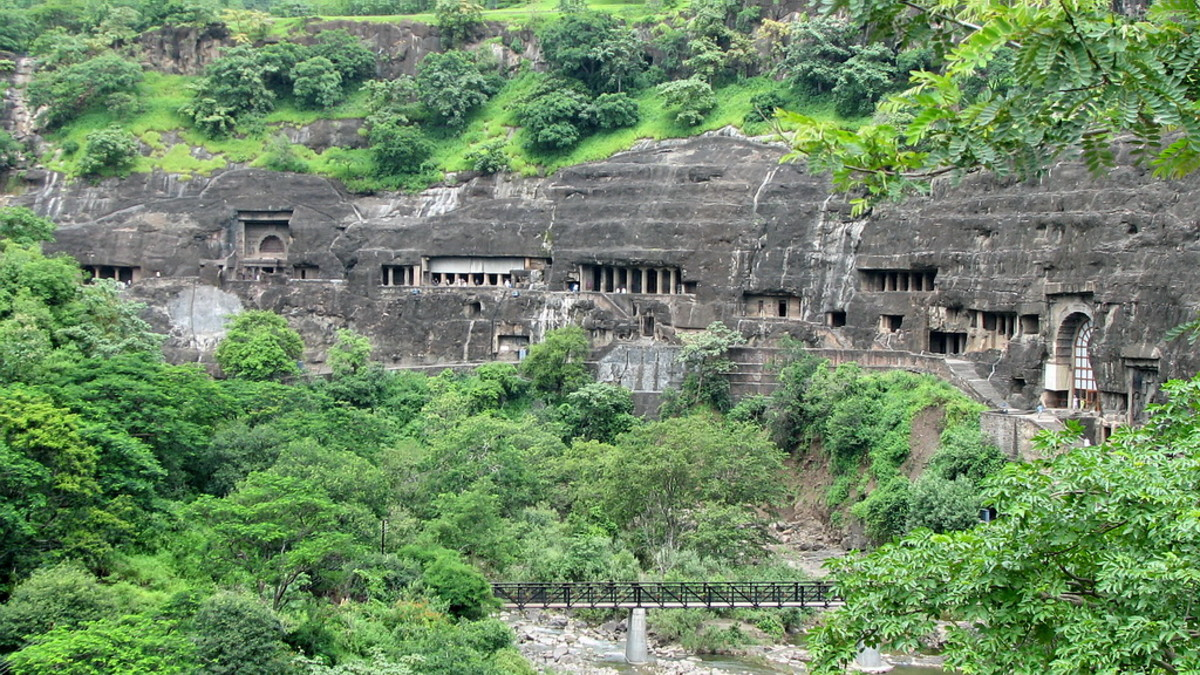 The Ajanta caves built from a single granite hill-side!