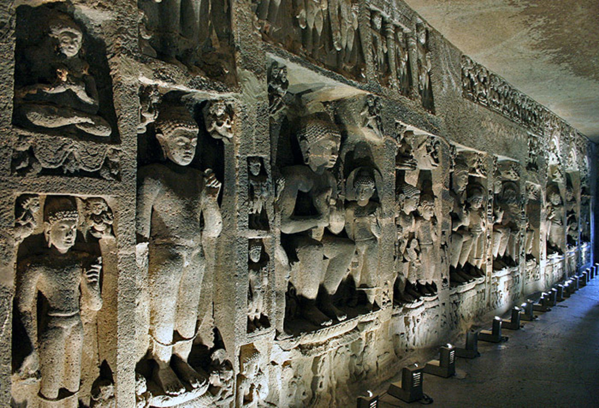 Magnificent carvings inside the Ajanta caves!