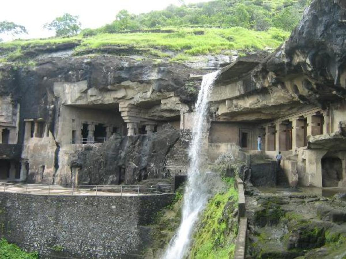 The caves numbered from 1 to 5 with a waterfall in between during the monsoons!