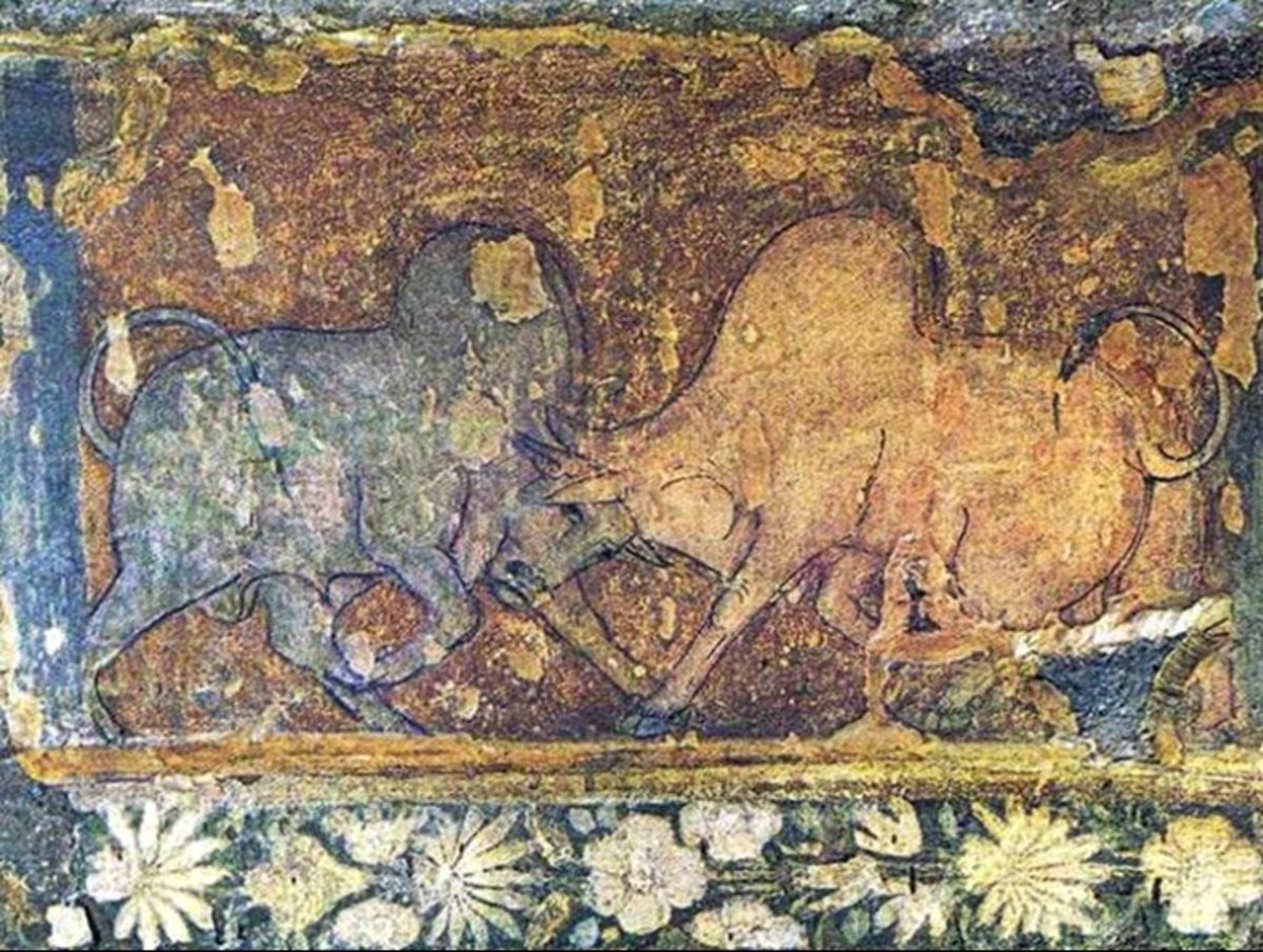 A bull fighting depiction!