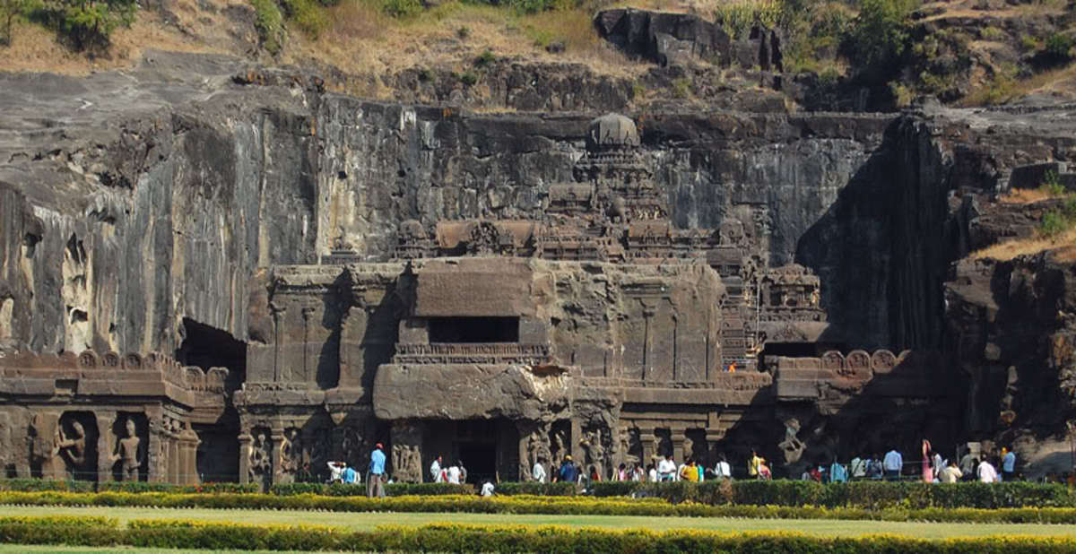 The Ellora Caves from a distance!