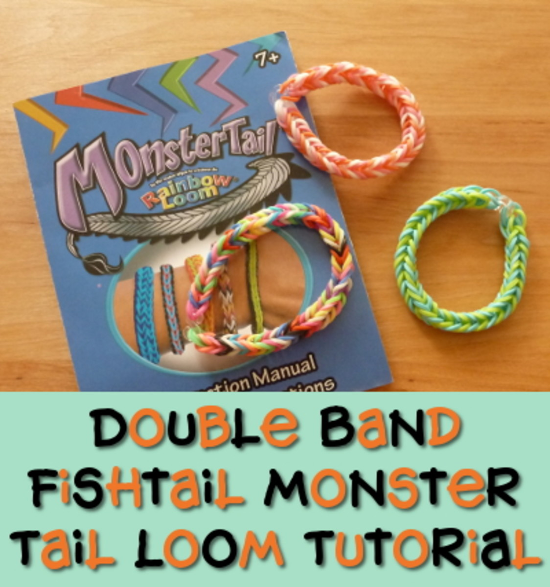 The double band fishtail monster tail rainbow loom rubber band tutorial