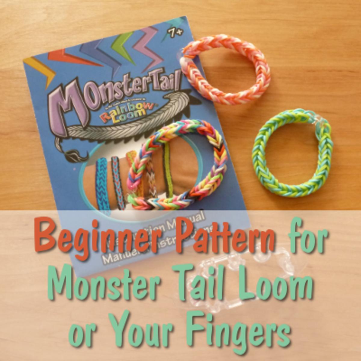 Beginner rubber band bracelet pattern for the MonsterTail Loom or for your fingers