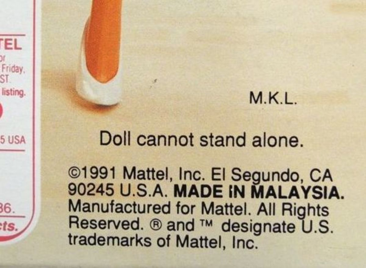 The date on this doll is in the Copyright info (1991)