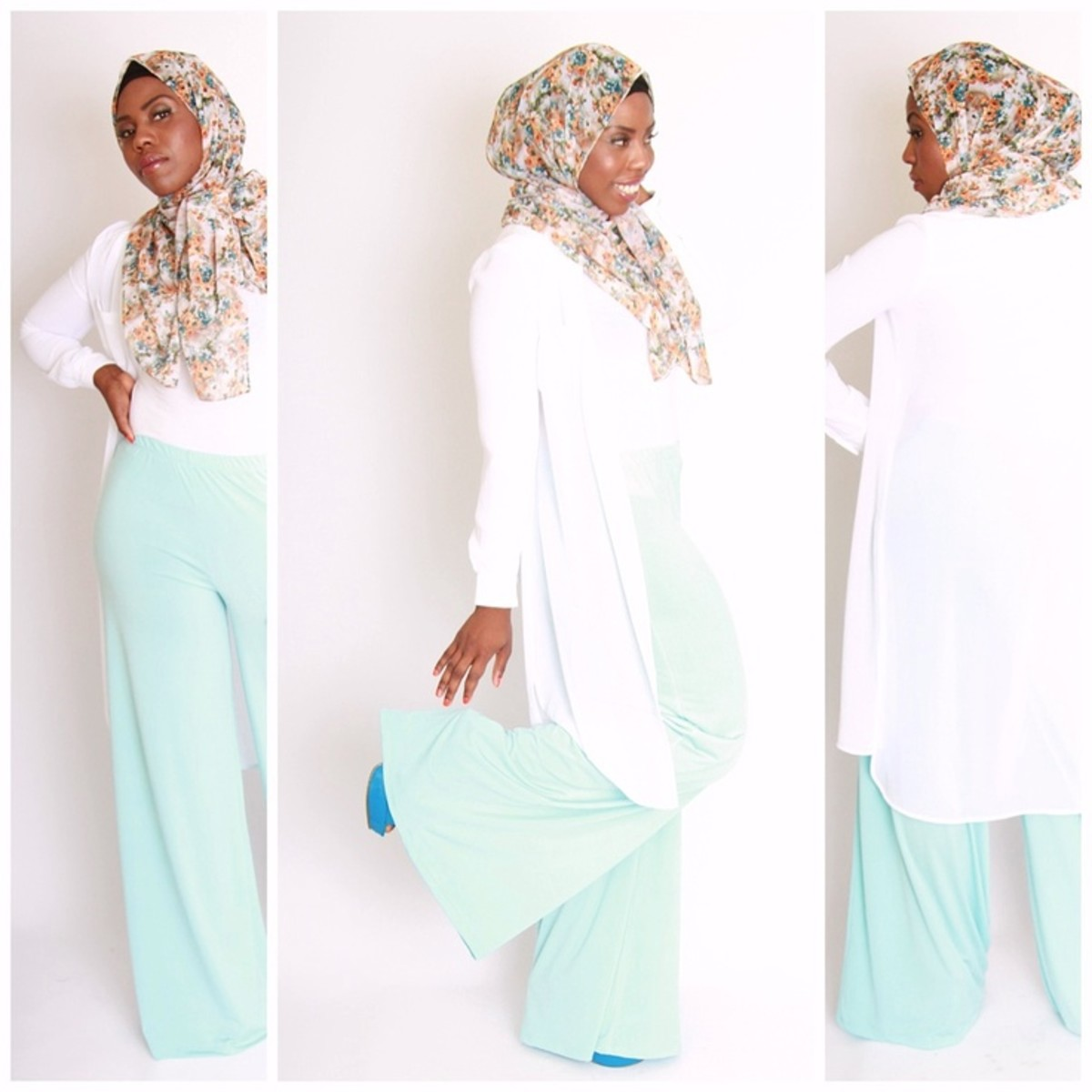 Pastel palazzo pants with scarf
