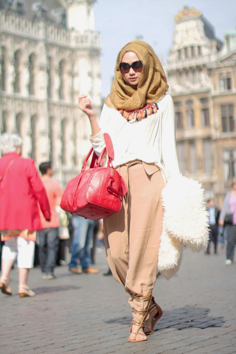 Fashionably loosely worn hijab