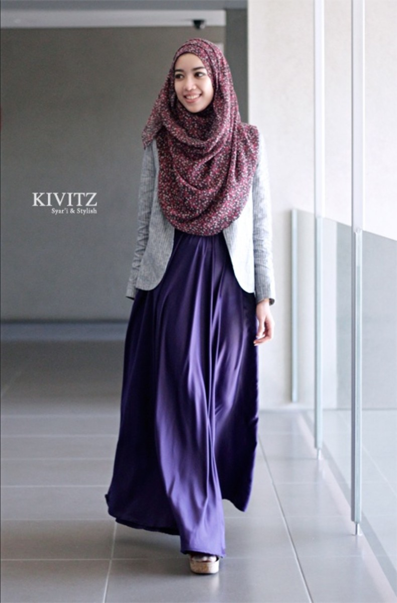 Dark Purple long maxi dress with scarf for head