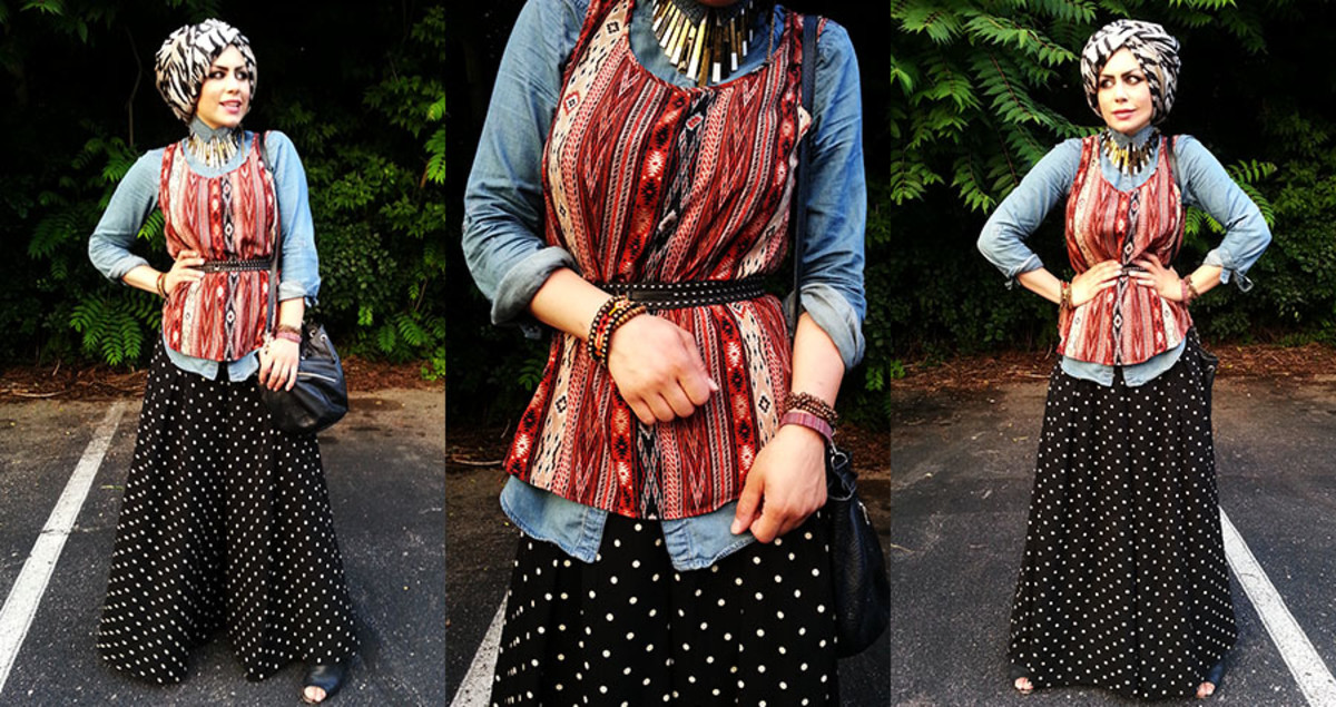 Look chic in Polka dotted palazzo pants and head scarf