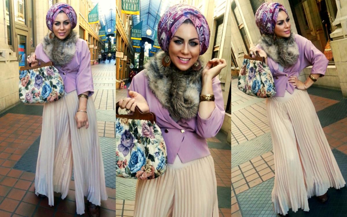 Iman Ali in palazzo pants and purple hijab. Retro hijab look