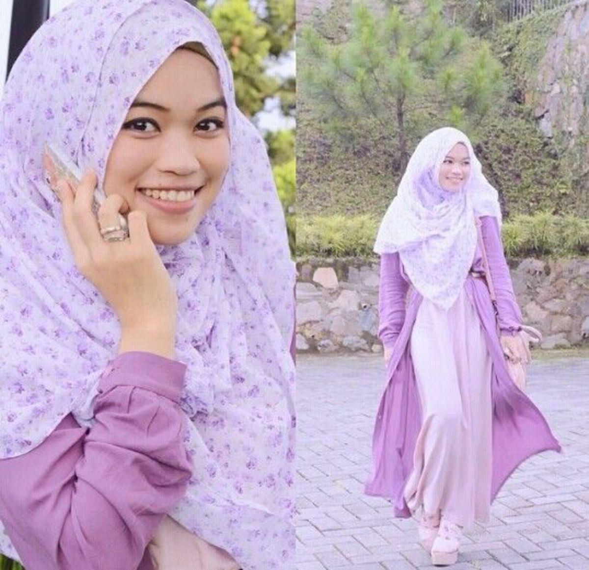 Lilac and purple hijab and abaya style