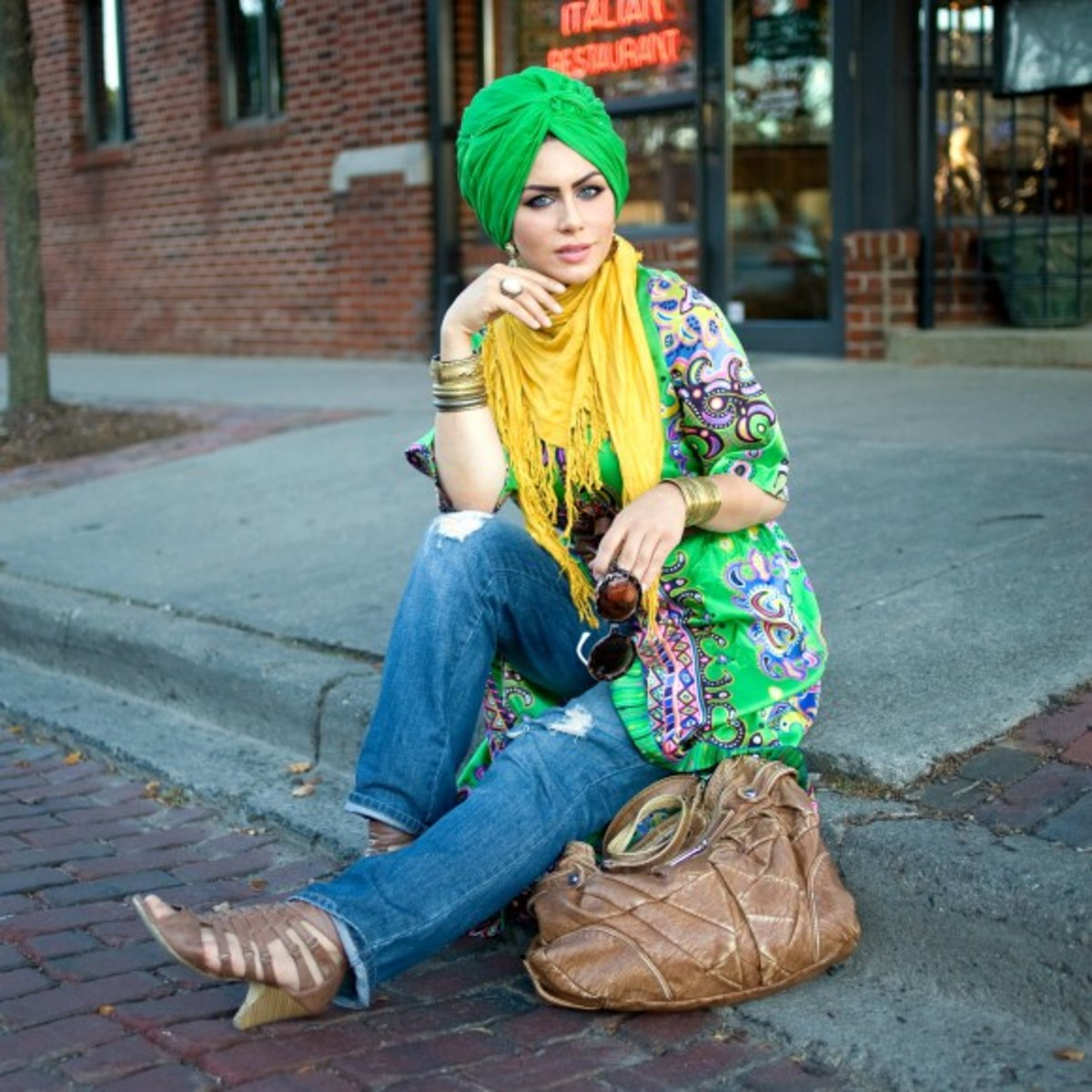 Flaunt bright colours with a pair of jeans. Don't be afraid to be loud in hijab