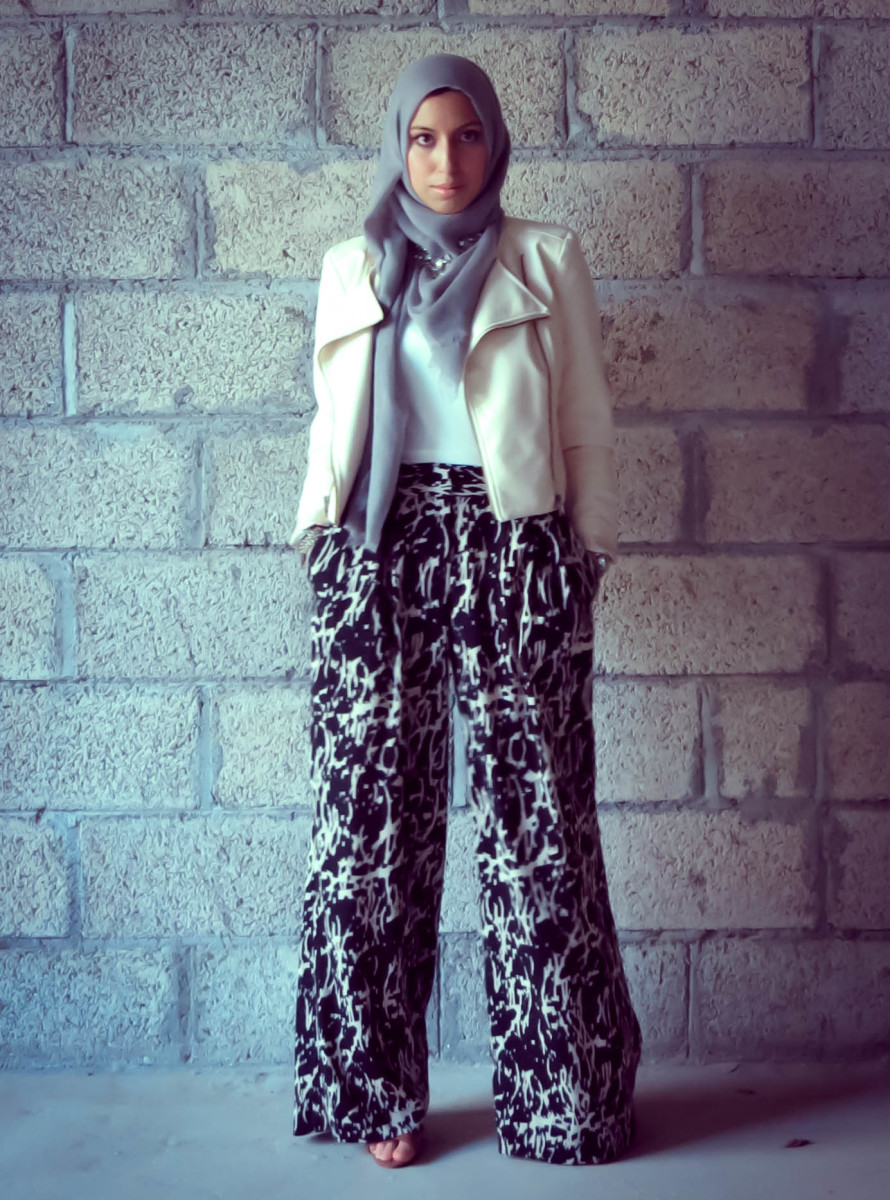 Printed Palazzo pants with head scarf
