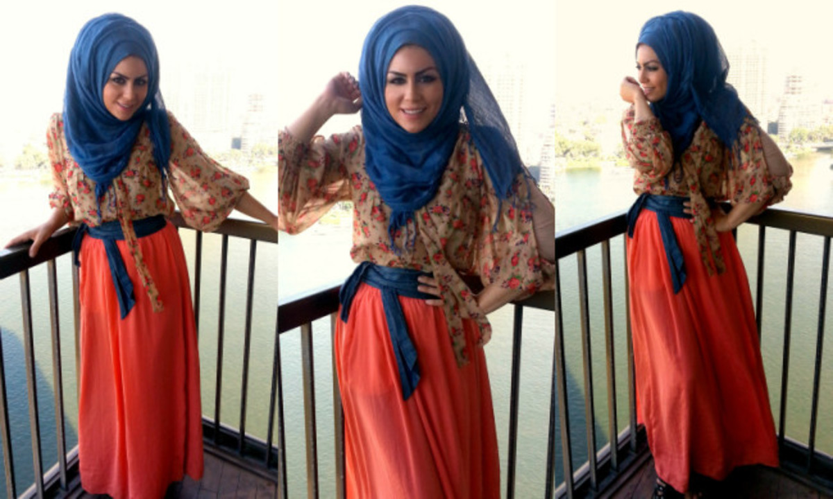 salmon coloured maxi skirt | Imaan Ali | Trendy hijabi stype