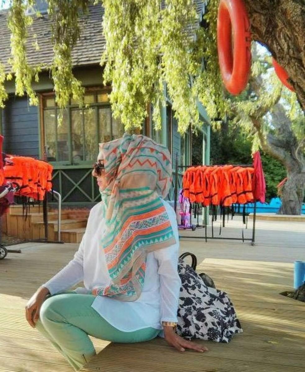 aqua and white como hijabi trendy woman