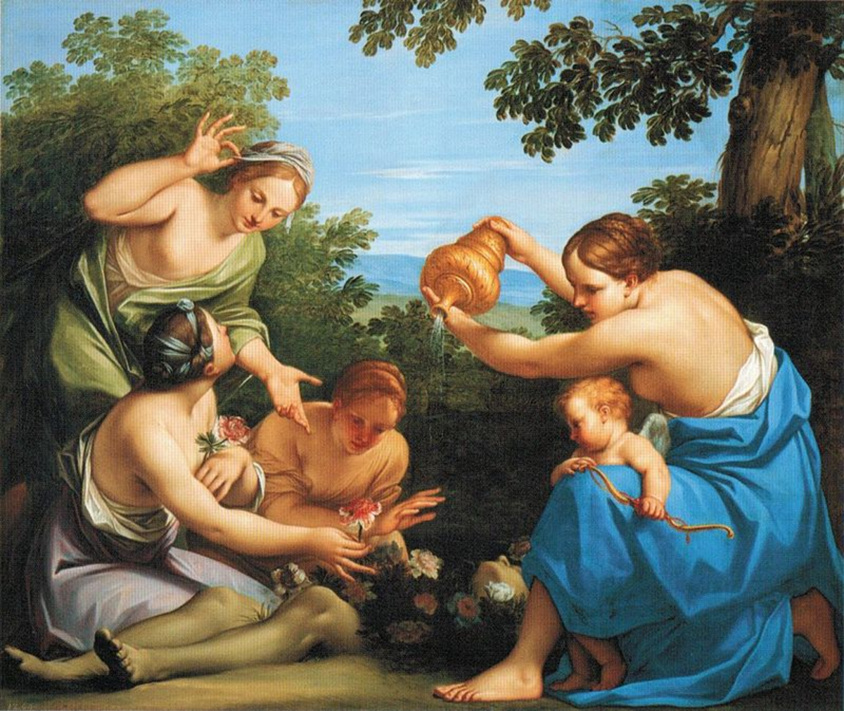 Aphrodite pouring nectar on Adonis