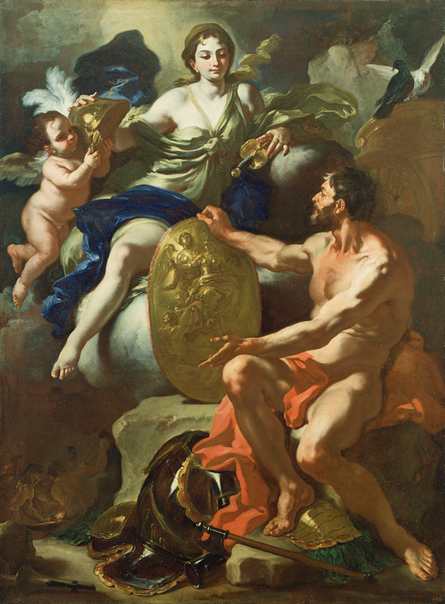 Aphrodite and Hephaestus with armor for Aeneas