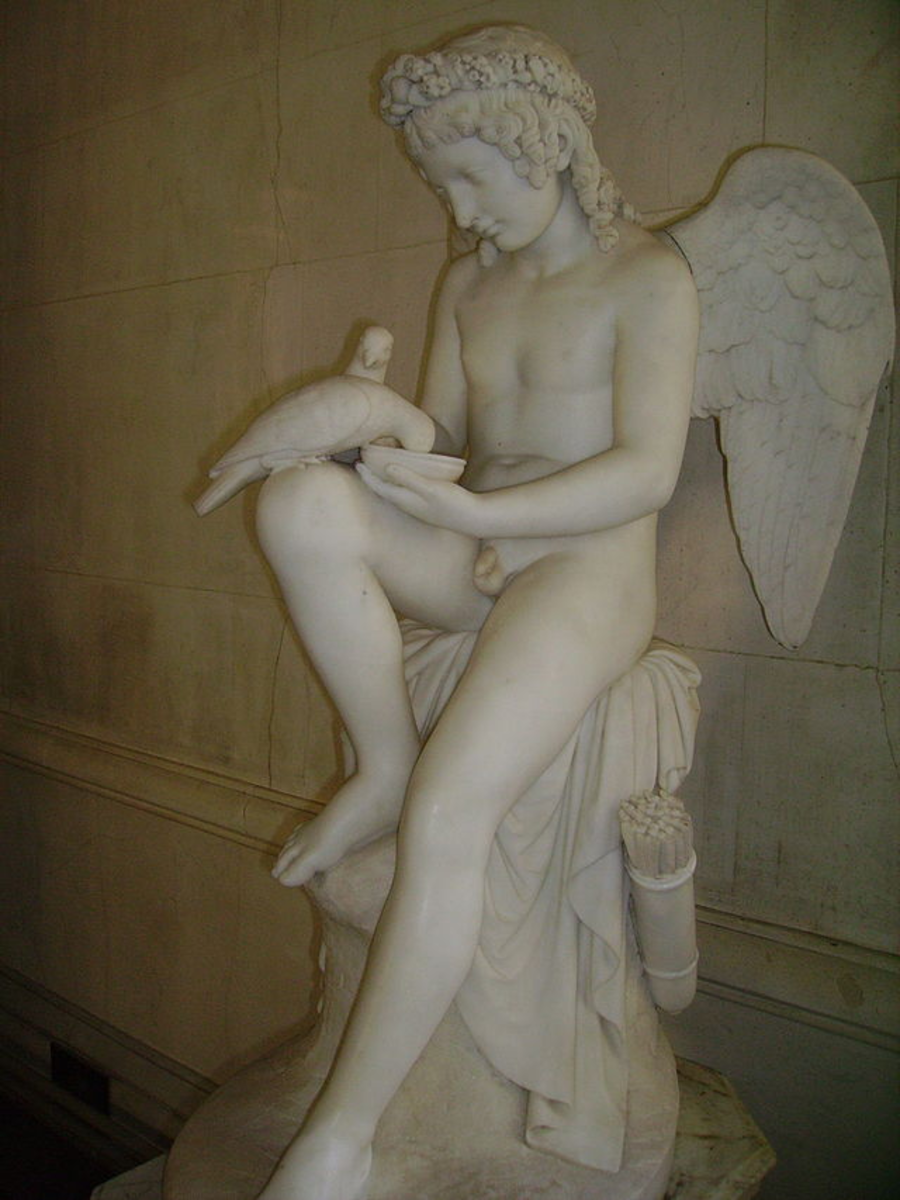Eros/Cupid feeding his mother's doves