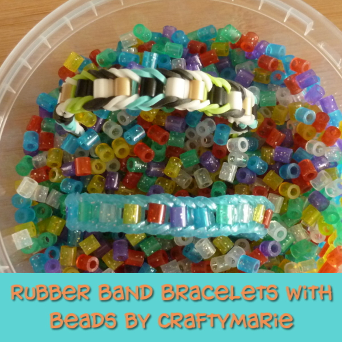 Beaded Rainbow Loom rubber band bracelet jewelry