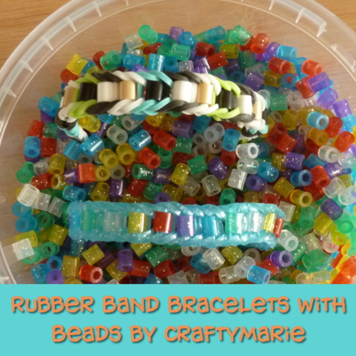 Beaded Rainbow Loom rubber band bracelet jewelry