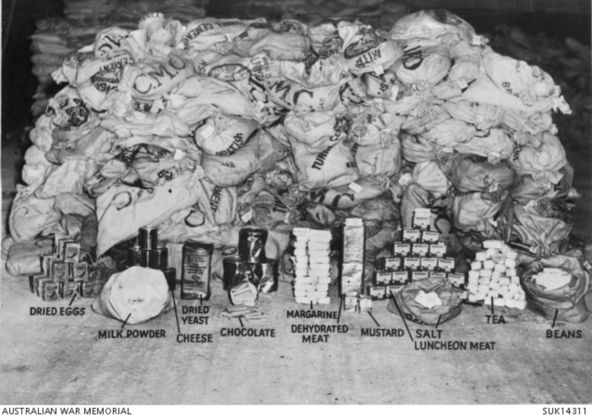 Typical selection of food dropped by RAF