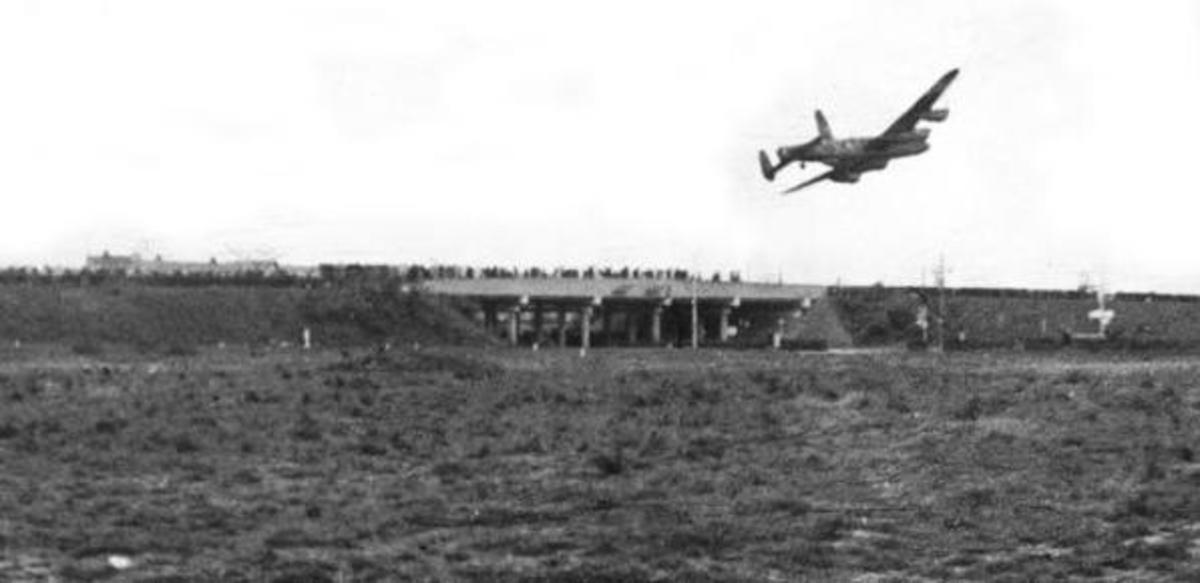 Low flying RAF Lancaster dropping food