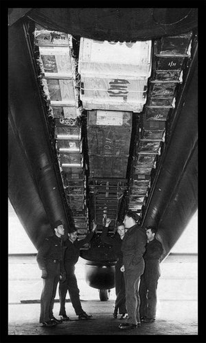 Loaded bomb bay of Canadian flown RAF Lancaster