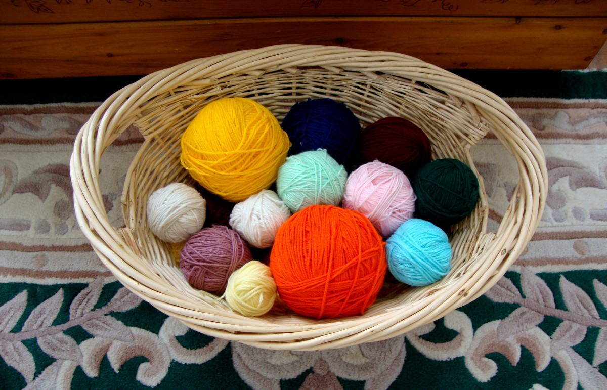 Balls of yarn in basket wound and ready for the next project.