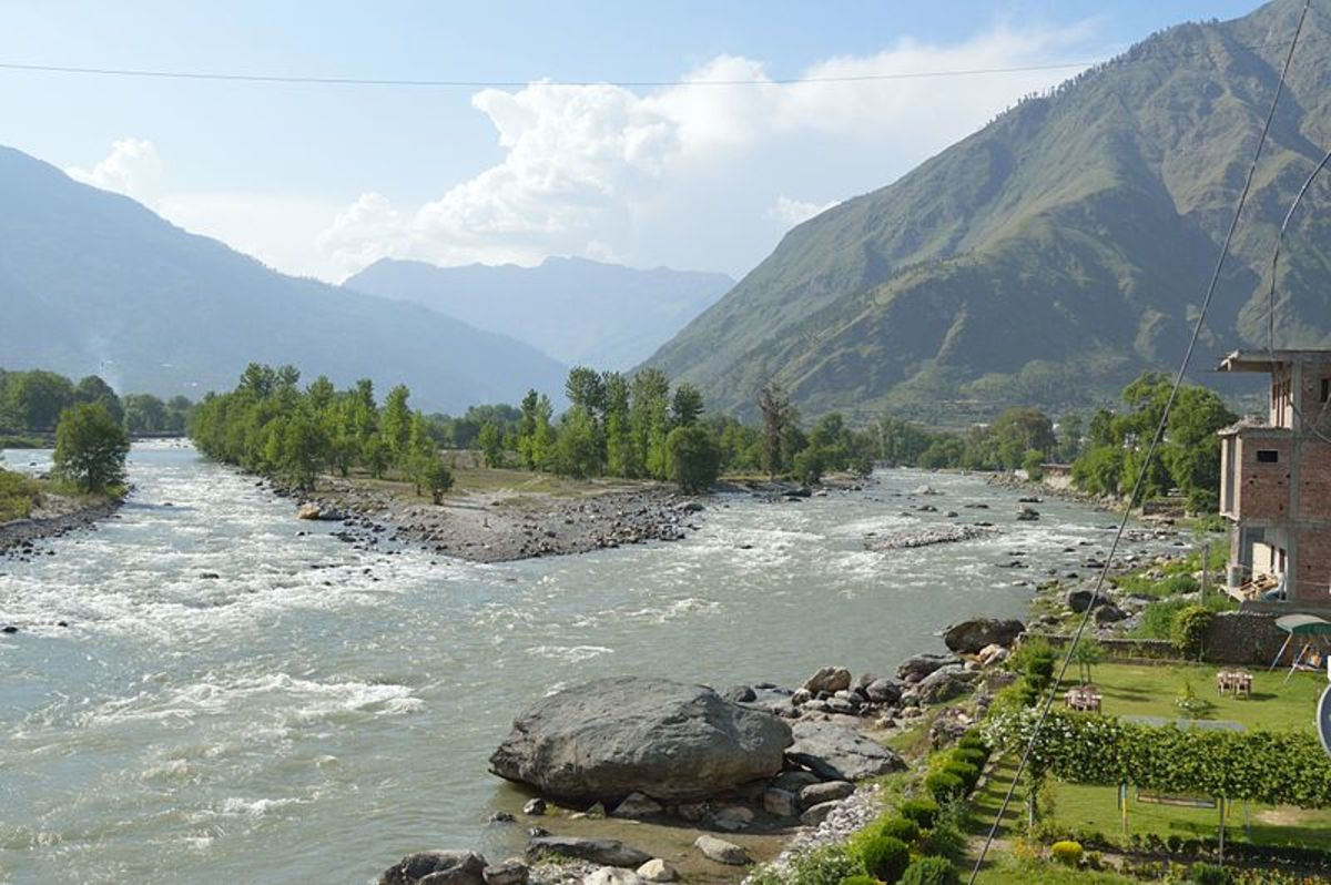 Confluence of River Beas and River Parvati  at Bhuntar and the Bijli Mmahavev Peak on the right