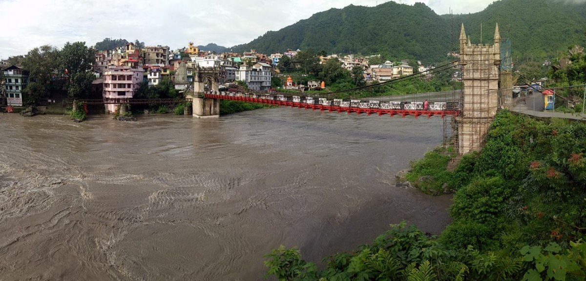 The gushing waters of Beas under the Victoria Bridge (1677) at Mandi