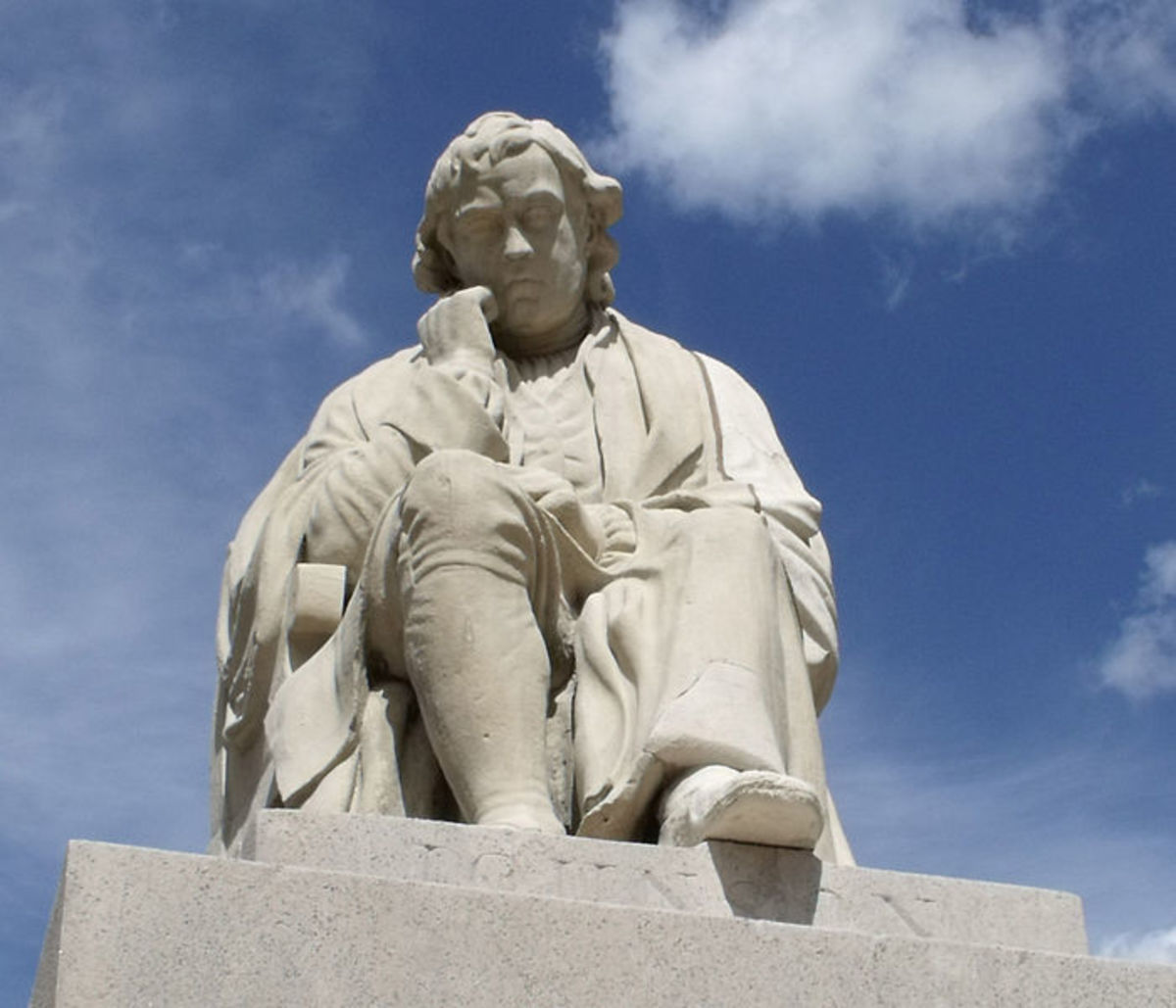 Statue of Dr. Samuel Johnson at Lichfield's Market Square, opposite the house where he was born