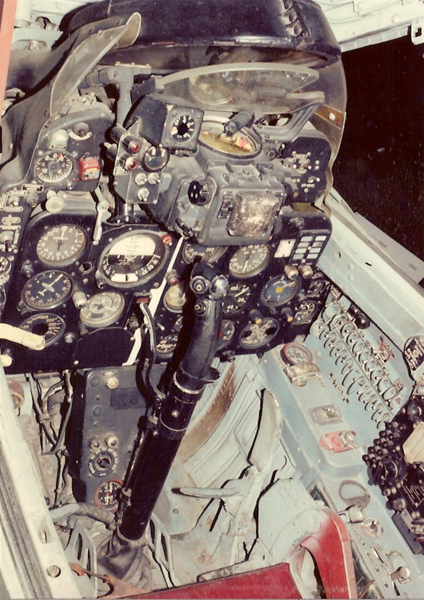 A view of the MiG-21's cockpit.