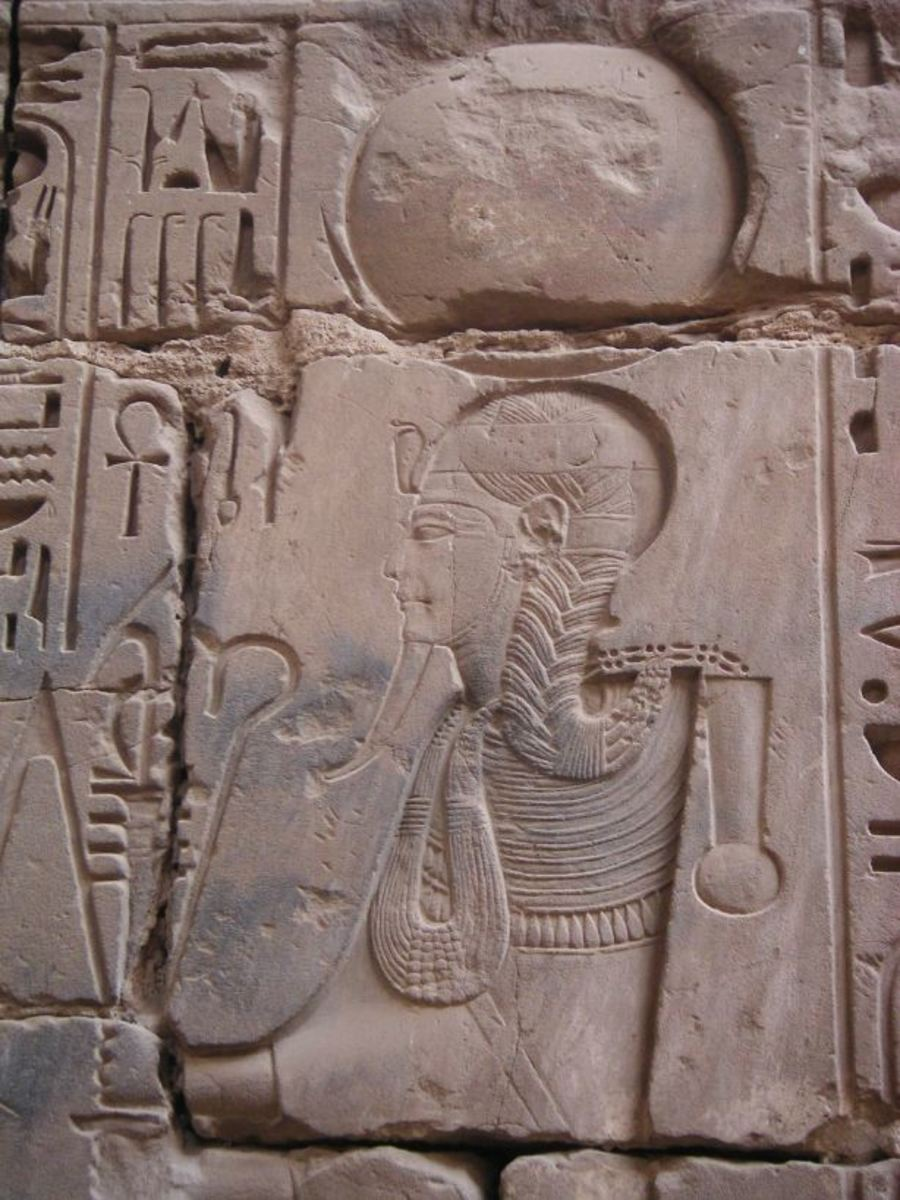 Khonsu on the walls of Karnak Temple