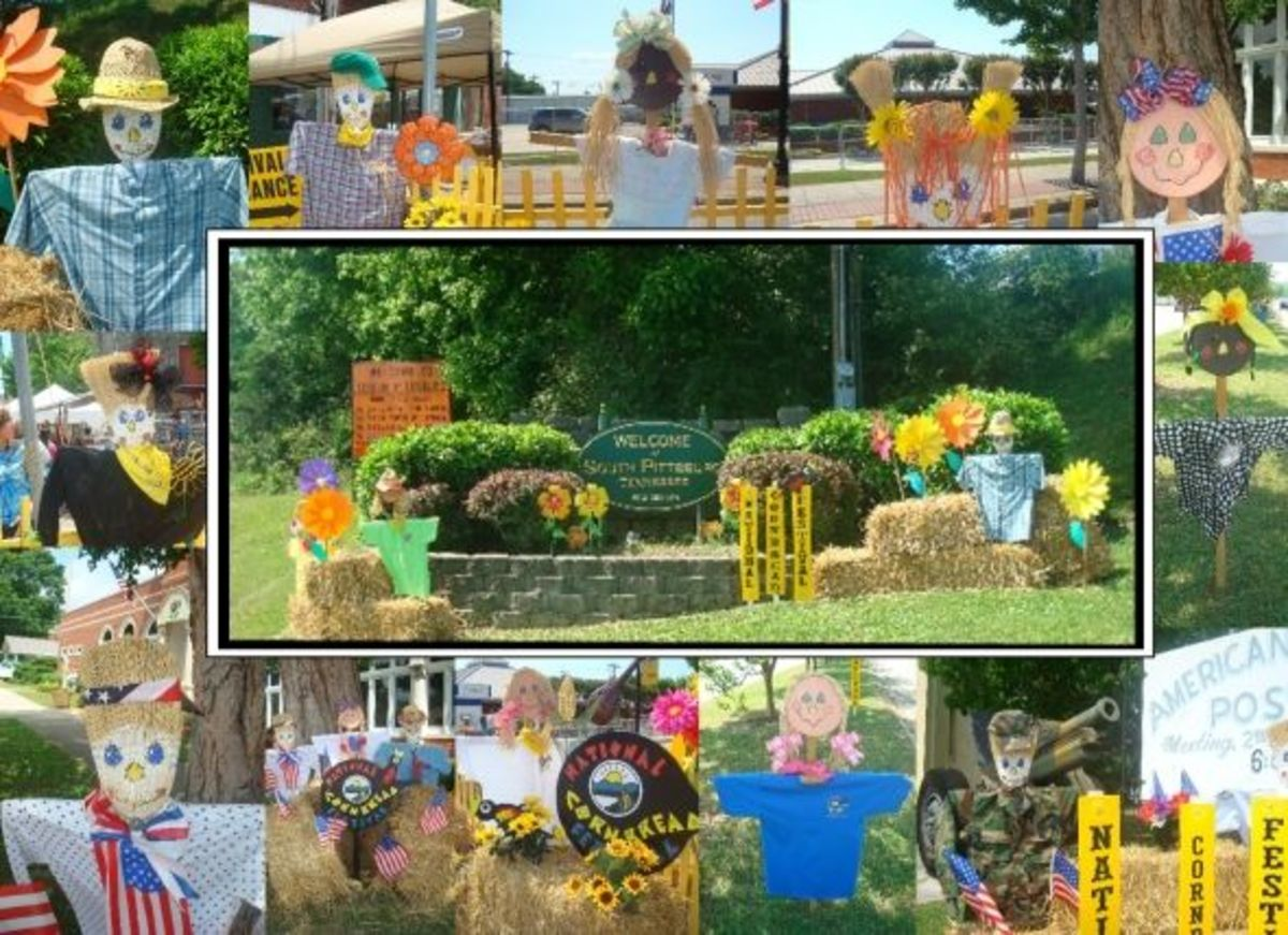 These scarecrows ought to get your creative juices flowing! They also have a Photo Credit: Photos by Jo McConnell taken at the National Cornbread Festival. Collage created by Nancy Hellams