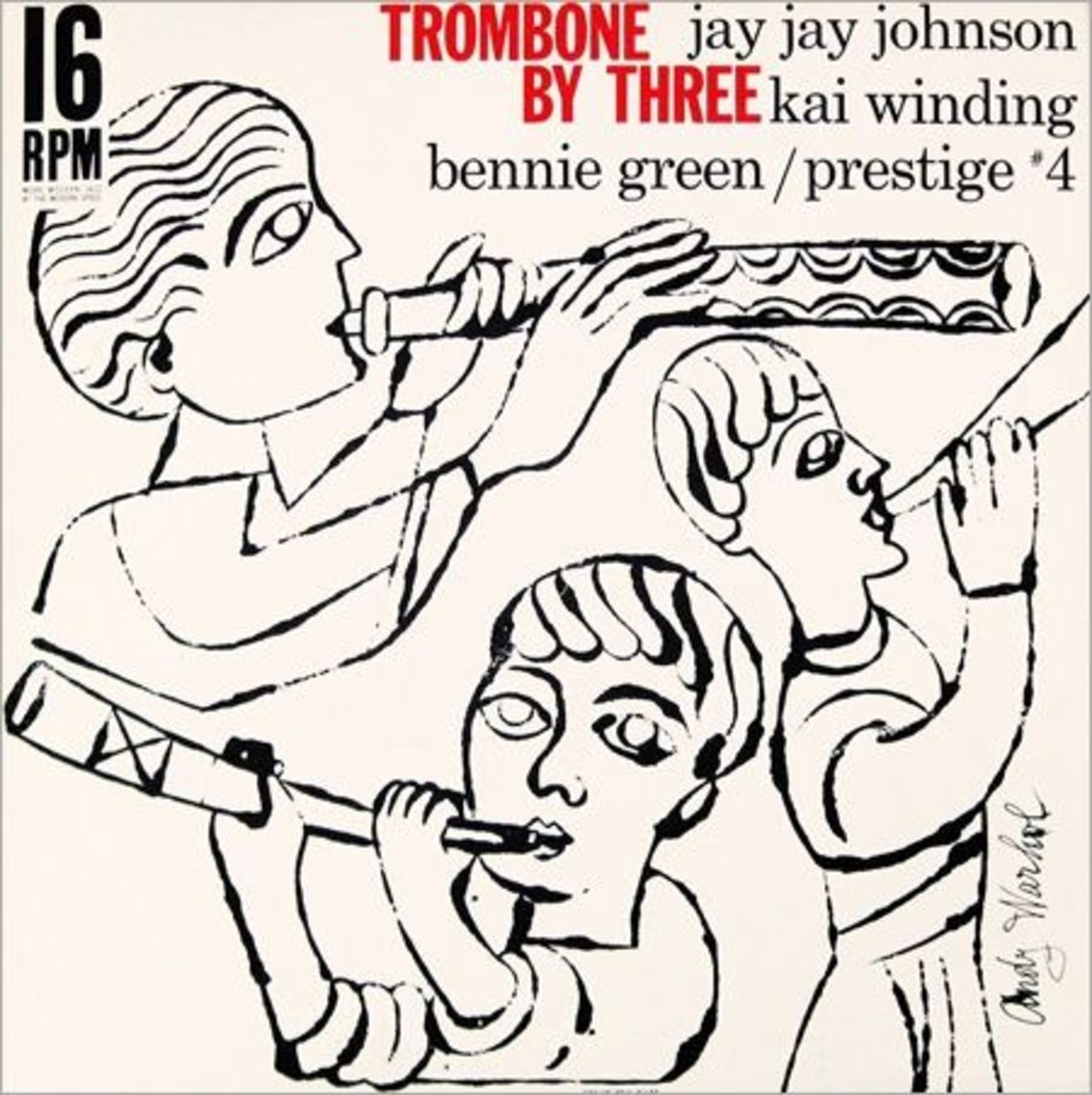 """Jay Jay Johnson, Kai Winding, Bennie Green """"Trombone by Three"""" Prestige Records 4 with Album Cover Art by Andy Warhol"""