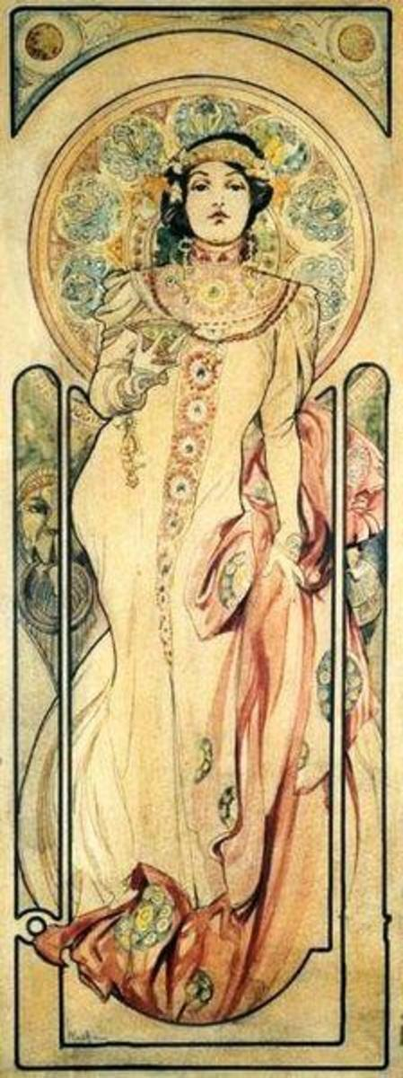 1899 Ink & water color poster designed for Moet et Chandon by Alfons Mucha (1860-1939)