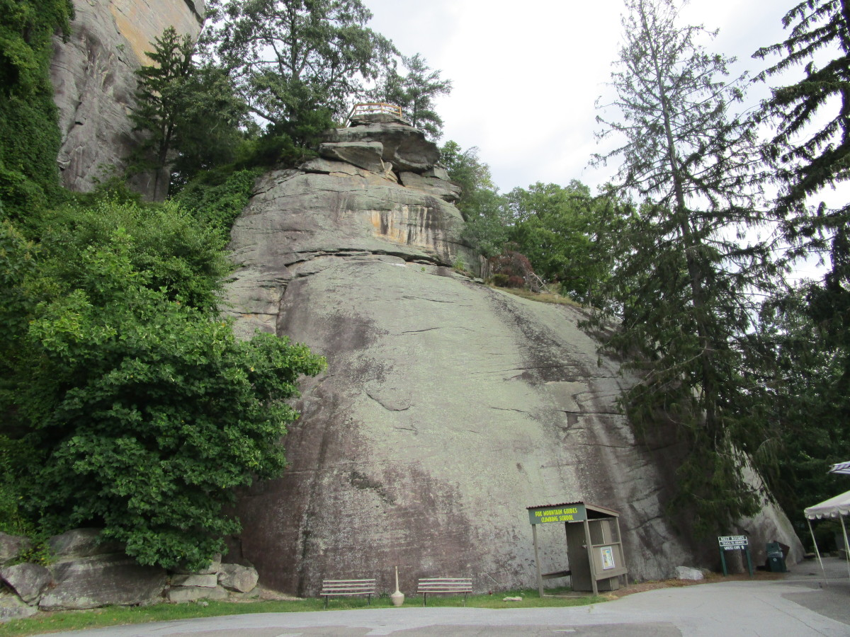 The rock wall at Chimney Rock State Park used for rock climbing lessons that are offered to the public.