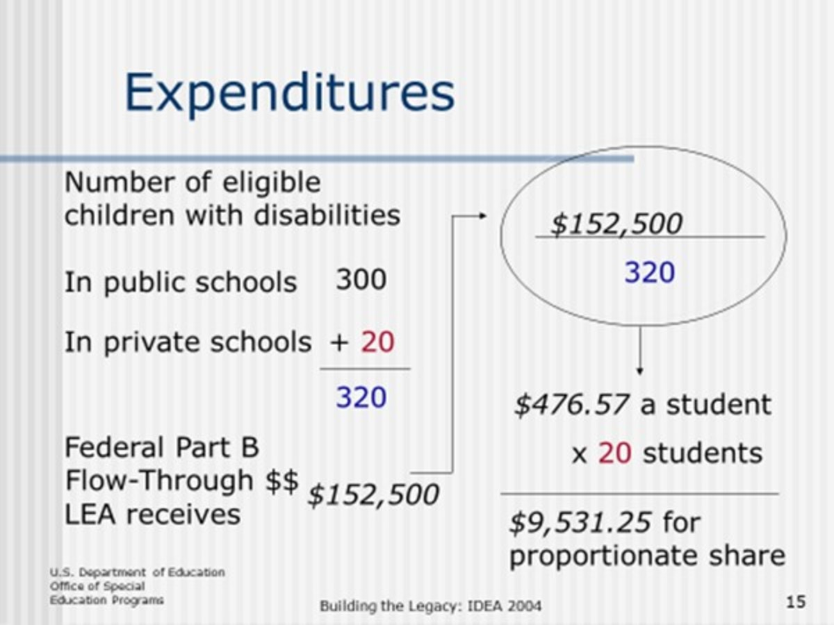 An example of expenditures from a public school district when factoring in the cost of sending  for public and private schools from students with disabilities.