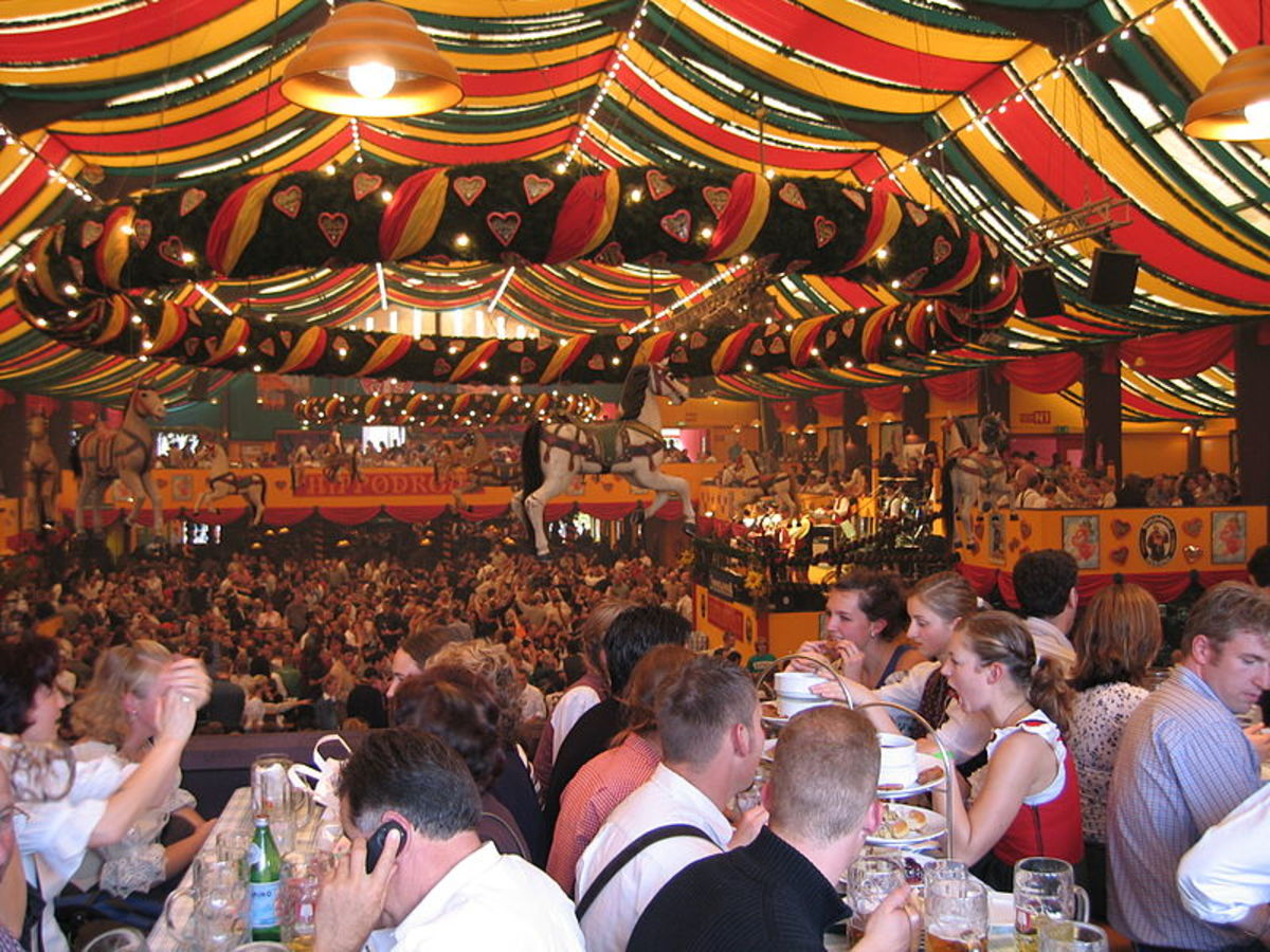 Oktoberfest in the large Hippodrome Tent in a German city.