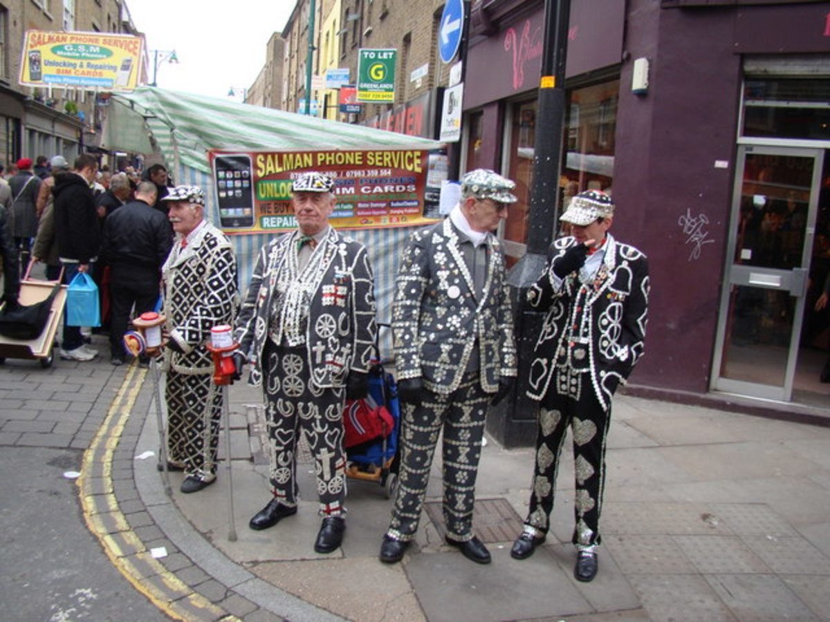 The Pearly Kings were out on Brick Lane collecting, clad in their usual spangly suits.