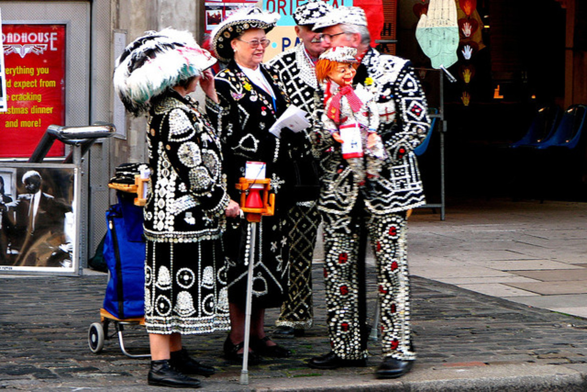 Pearly Kings and Queens in London's Covent Garden. Suits are filled with buttons.