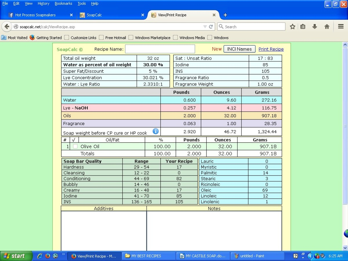 This is a screenshot giving details of this recipe, provided by SoapCalc.com, a popular online lye calculator.