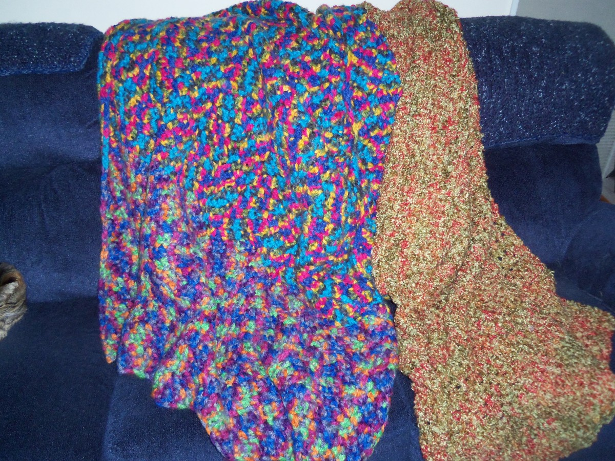 Two colors of ombre in the left side afghan pictured.