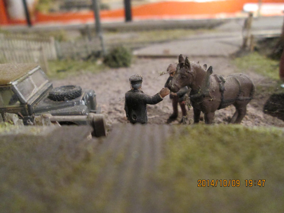Looking down from the pigsty shed roof at the stationmaster and farmer (the blacksmith employed by the railway to shoe their delivery horses had a nice sideline!)