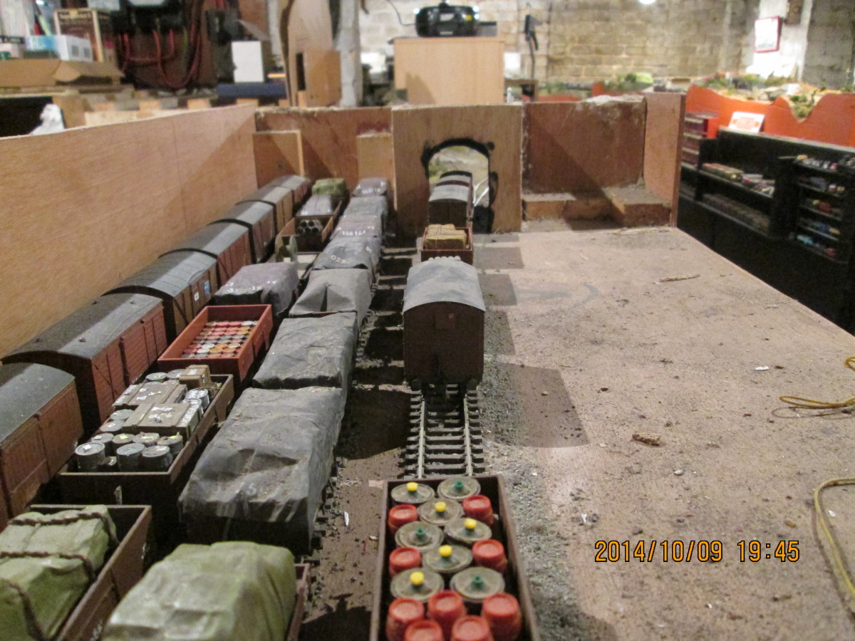 The view from the control module (right, out of image) end showing the variety of wagons and vans stored