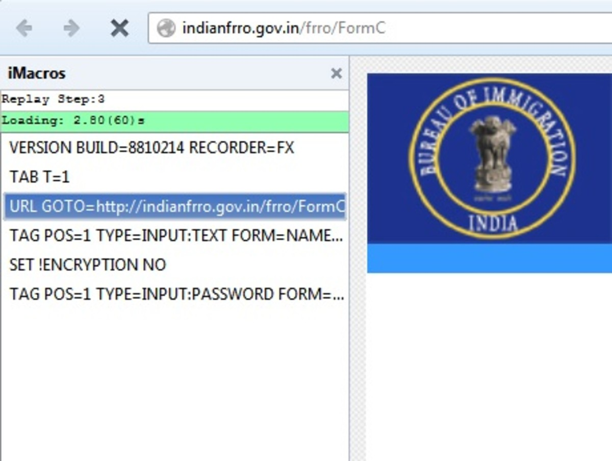 Automating the submission of India Bureau of Immigration (FRRO) Form C