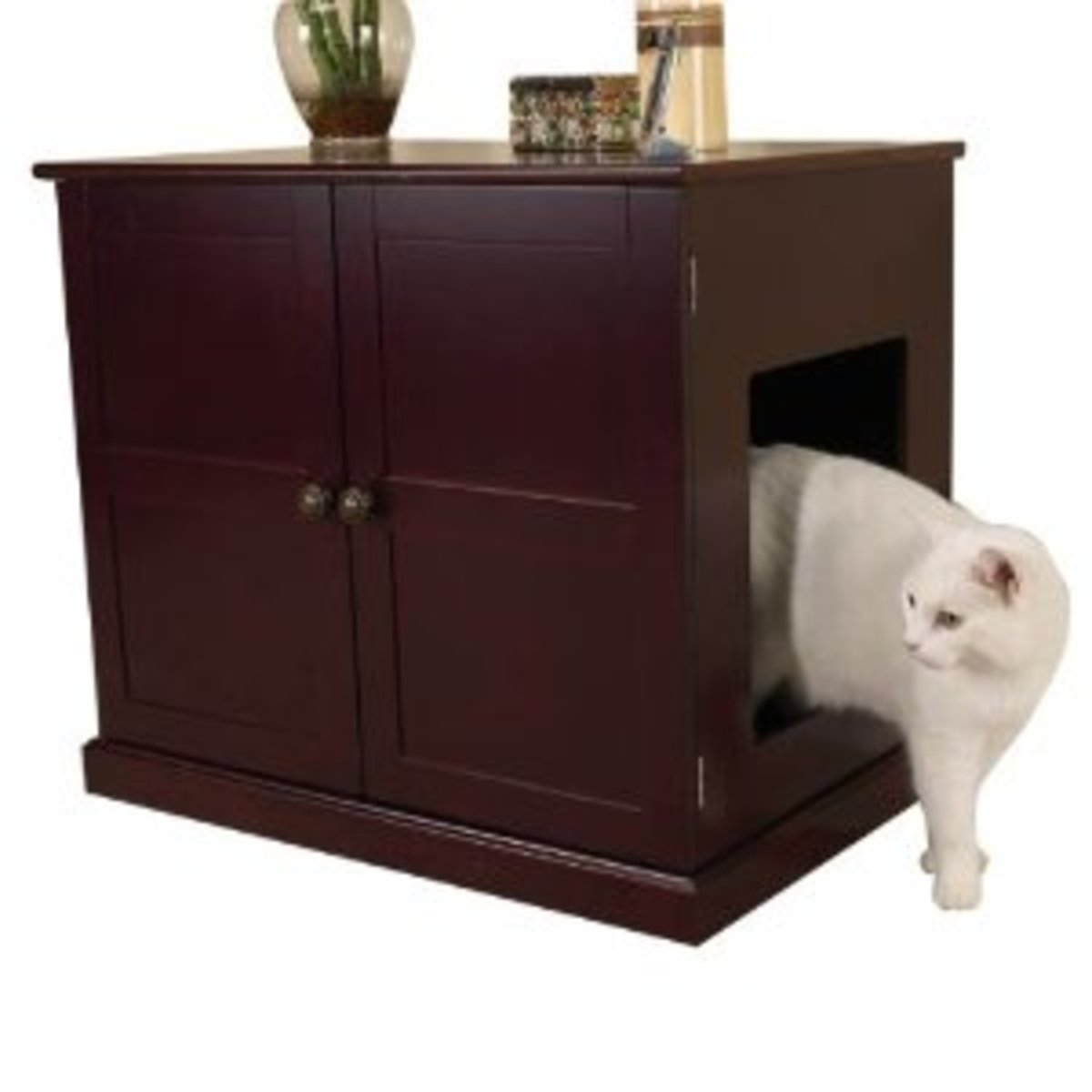 Cat cupboard is a discreet way of keeping the litter tray in the room.
