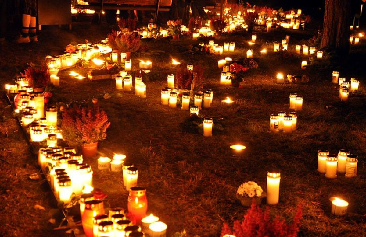 Candles lit for All Souls Day at Skogskyrkogarden in Stockholm, Sweden.