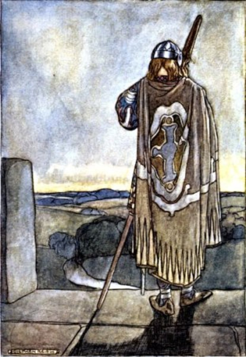 Illustration from The High Deeds of Finn and other Bardic Romances of Ancient Ireland, showing the young hero Finn about to confront a malevolent fairy on Samhain Eve.