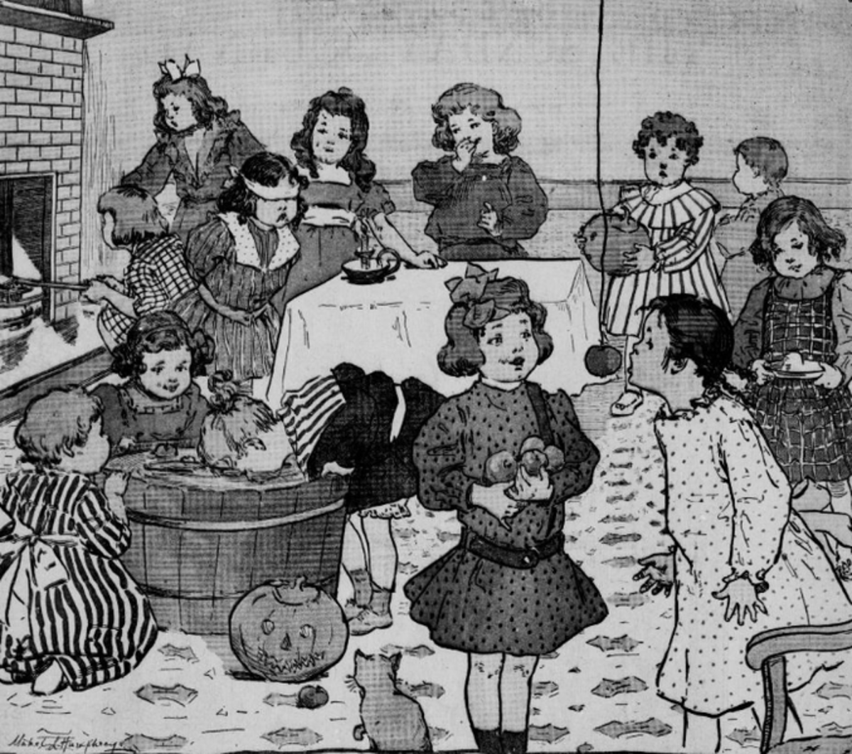 An illustration of a Halloween party for children in the United States, 1903. The children can be seen bobbing for apples, a traditional Halloween pastime.